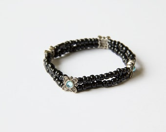 Double Stretch Bracelet Mosaic Light Blue
