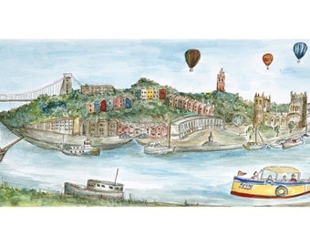Bristol Docks- Clifton Suspension Bridge, Ferry, Balloons, Cathedral. Original watercolour painting- limited edition Giclee print