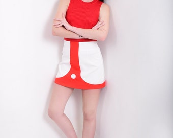 60s Style Mod Mini Skirt A Line with Colour Block Detail in White and Red - Mod Space Age Vintage Reproduction