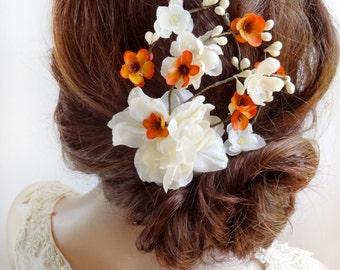 bridal flower hair clip, bridal hair piece, orange hair clip, bridal clip, ivory flower hairpiece, bridal hair accessories, floral hair comb