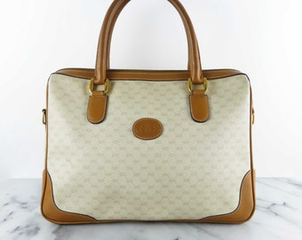 Vintage GUCCI Top Handle Satchel Tote Bag Mini Duffle Cream Tan Leather PVC Monogram GG Purse
