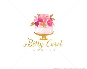Watercolor Cake Logo Design - Bakery Branding, Gold Foil, Wedding, Roses Flowers, Golden, Hand Drawn, Tiered Cake, Event Planner, Cafe OOAK