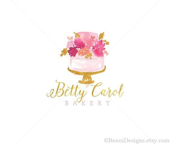 watercolor cake logo design bakery branding gold foil