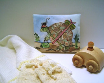 """Tortoise on the Move - Childrens Drawer/Pillow Lavender Sachet - Hand Painted Original - 5x6""""- Relaxing Lavender Buds Pillow - New Baby"""