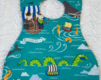 Toddler Bib | Viking Toddler Bib | Long Absorbent Bib | 3 Layer Bib | Terry Cloth Backed Bib | Great Adorable Bib | Designer  Boy Girl Bib