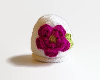 Knit Baby GIRL Hat - kid's knitted hat - knitted beanie cap - knitted girl's hat - girl's hats - flower hat - girl's winter hat