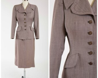 Vintage 1940s Tailored Suit • Enticing Admiral • Mocha Brown Weave 40s Vintage Suit Jacket and Pencil Skirt Size Small