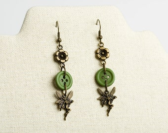 Whimsical Faerie Button Dangle Earrings.