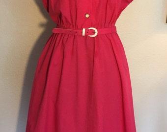 Plus size 80's Vintage Hot Pink Enamel Button Shirtwaist Dress