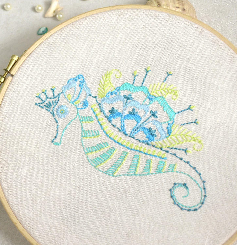 Seahorse hand embroidery pattern nautical decor sea nursery for Beach house embroidery design