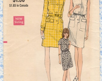 1960s Vogue 7301 Misses Mod Dress Pattern, Straight Onepiece Shirtdress Pattern, Button Front, Size 12 Bust 34 Classy Womens Sewing Patterns