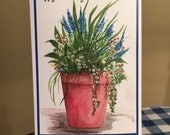 Happy Birthday Garden flower pot water color print card (Item F72)
