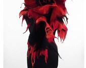 Designer Scarf Red Scarf Nunofelt Scarf Felted Wool Scarf RED SHAWL Nunofelt Shawl Burgundy Wrap Felt Scarves Red Scarves Nuno felt