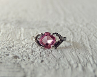 Pink Topaz Sterling Silver Ring/Pink Gemstone Ring/Cocktail Ring/Stamped Sterling Silver/Pink Natural Stone/Minimalist/Boho Chic/October Gem