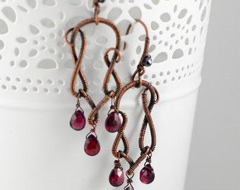Handmade Garnet Gemstone Earrings, Red Gemstones, Surrealist Jewelry, Floral Earrings, Tulip Earrings, Wirewrapped Jewelry, Copper Earrings