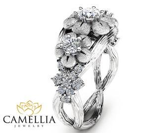 Three Stone Diamond Engagement Ring 14K White Gold Branch Ring Floral Diamond Engagement Ring