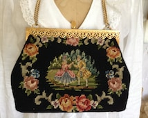Vintage French NEEDLEPOINT Petit Point TAPESTRY PURSE Courting Couple Roses Gold Filigree Frame Shabby French Cottage Romantic Mid Century