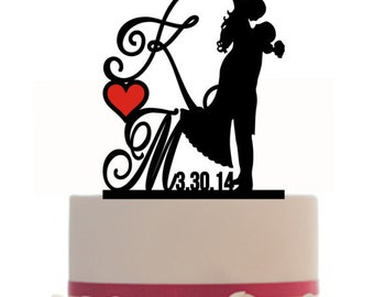 Custom Wedding Cake Topper Personalized Silhouette With Wedding Date - Initial - Keepsake - Couple Silhouette - Groom and Bride - Topper