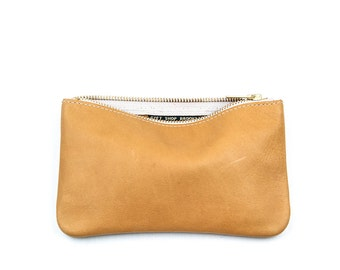 MAE Tan Leather Wallet. Saddle Leather Pouch. Light Brown Clutch. Brown Clutch. Leather Makeup Bag