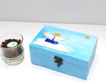 Children jewelry boxes Childs jewelry box Wooden Keepsake box Jewelry box Boite à bijoux ange Wooden box Blue box Jewelry holder Gift idea