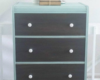 Mint Green / Turquoise & Driftwood Grey Dresser / Chest of Drawers - Vintage Bedroom Storage! (SOLD)