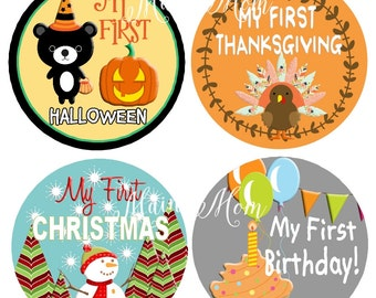 First Halloween,  First Thanksgiving,  Holiday Stickers, First Birthday, Fathers Day, 4th of July, My First Christmas, Milestone Stickers,