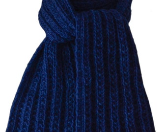 Hand Knit Scarf - Polar Sea Blue Keji Cashmere Trail Rib