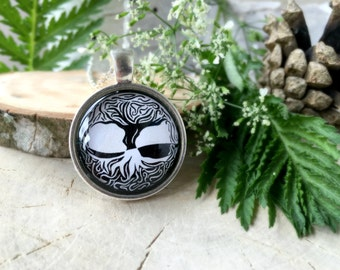 Black and White Celtic Tree Of Life Necklace,Silver Glass Pendant,Glass Cabochon Pendant With Chain