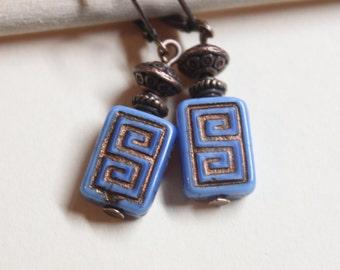 Blue Earrings, Dangle Drop Earrings, Czech Earrings, Boho Chic Earrings, Copper Earrings, Rustic Earrings, Gift For her, Gift for women