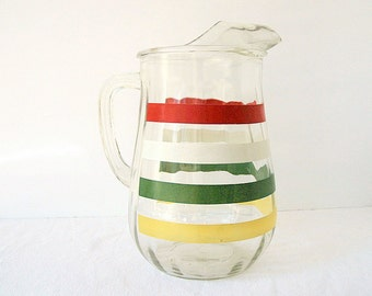 Vintage Anchor Hocking Fiesta Band Retro Glass Pitcher Color Stripe with Ice Lip, 80 oz.