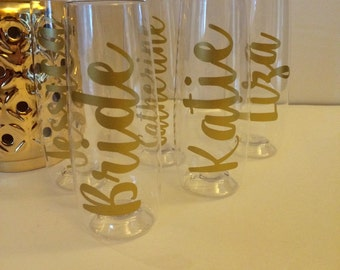 Personalized champagne, wine stemless plastic shatterproof travel flutes glasses