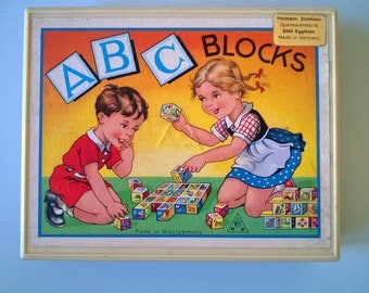 vintage ABC block puzzle Hermann Eichhorn made in Germany