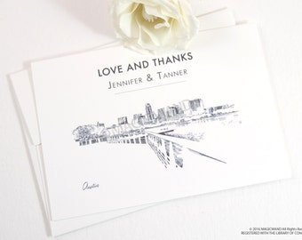 Austin Skyline Wedding Thank You Cards, Personal Note Cards, Bridal Shower Thank you Cards (set of 25 cards)