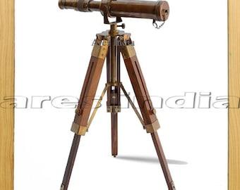 Antique Vintage Style Brass Telescope Spyglass Monocular w Wooden Tripod Home Office Nautical Decor