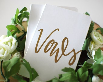 Wedding Vow Books - Set of 2  |  His Her Vows, Vow Calligraphy Book