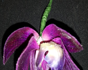 Beautiful Small Single Orchid Wedding Buttonhole/Boutonniere/Corsage in Deep Purple with Corsage Pin