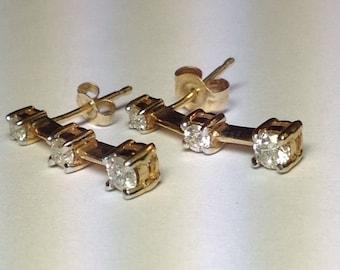 Diamond Dangle Earrings 14k Yellow Gold Past Present Future