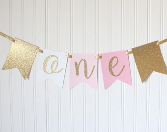 Gold & Pink ONE High Chair Banner Happy Birthday Banner/Pink Ombre Girl Birthday/ Princess Party/ Child Birthday/ Party Decor /1st birthday
