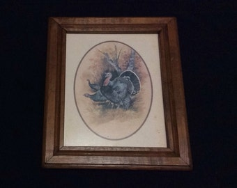 Vintage 1970's Wood Framed Turkey Print Signed TC Morris, Wall Art, Picture, Home Decor