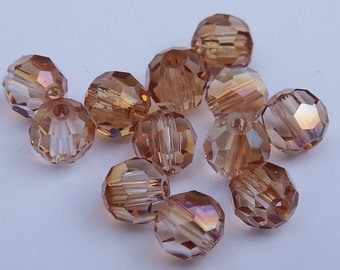 Close Out! Light Smokey Topaz Swarvoski Crystal, 4 mm, Round, Pkg of 12 OR with AB Finish