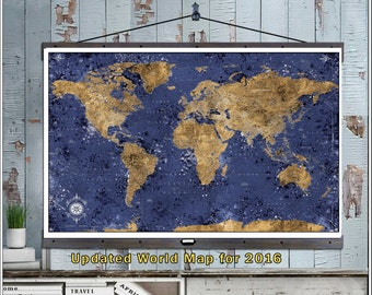 Huge Detailed Travel Map. Large Travel Maps. 40x60 Hanging Map printed on Canvas. Push Pin Map. 2016 Geography. Map 606