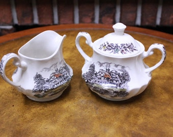 Hand Engraved Ironstone Yorkshire China Cream and Sugar Containers. Staffordshire England. 137