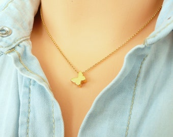 Sterling Silver Butterfly Necklace,  Gold Butterfly Necklace,  Tiny Charm Necklace, Thin Chain Necklace, Minimalist Necklace