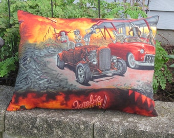 Hot Rod Pillow,Zombie Pillow, Walking Dead Pillow, Halloween Pillow, Roadster Pillow,Theater Room Pillow, Zombie Drive-In, Man Cave Pillow