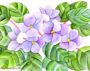 """African Violets, Print of my Original Watercolor Painting, 5""""X7"""""""