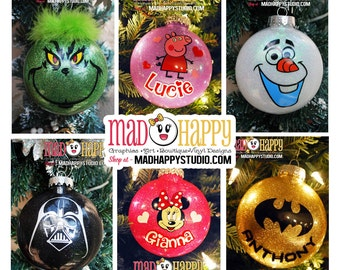 Personalized Character Glitter Ornament