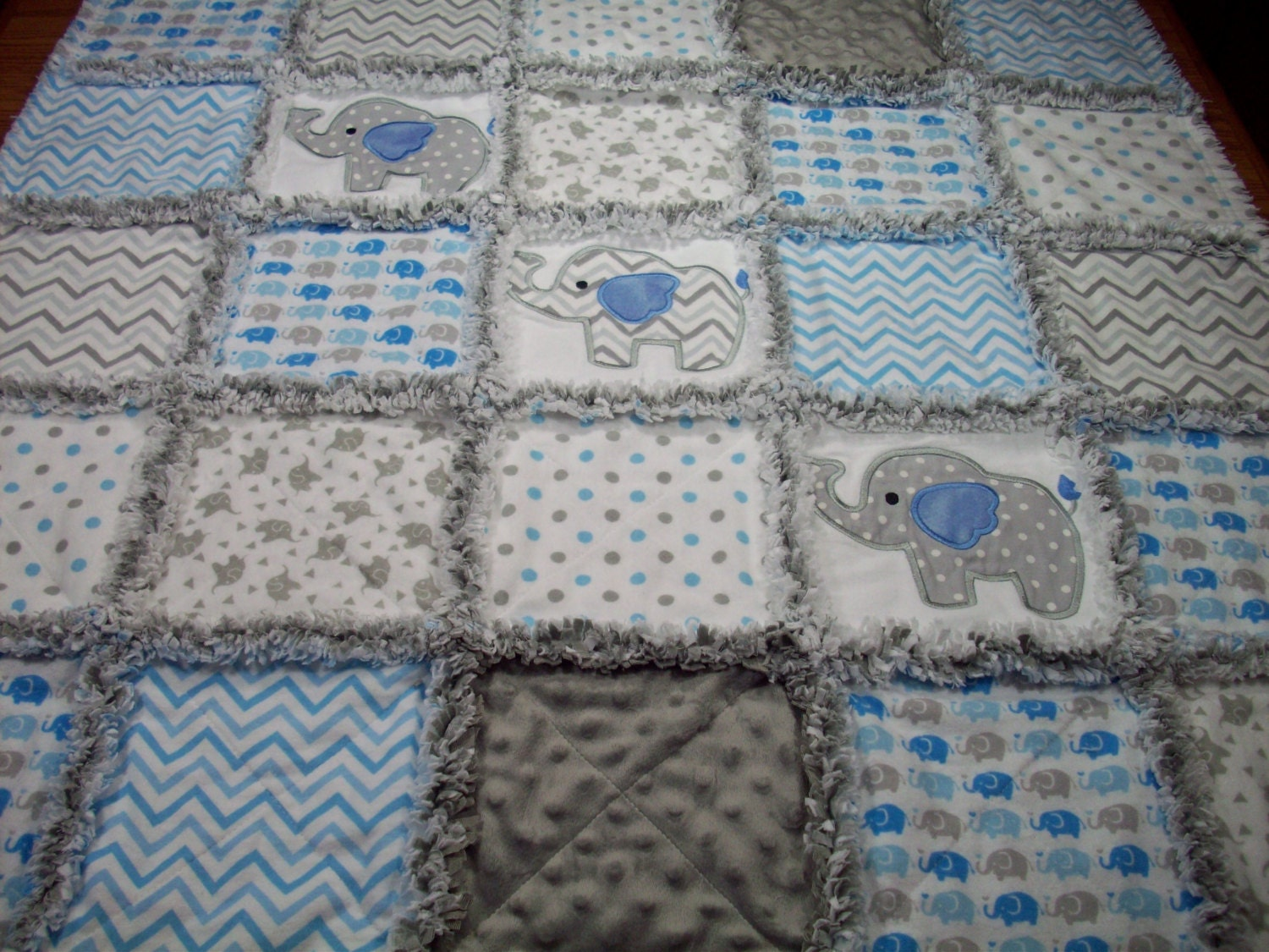 Elephant Baby Rag Quilts Rag Quilt Baby Applique Rag Quilt