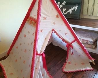 Vintage Floral Teepee, Teepee Tent, Kids Teepee, Girl's Teepee, Play Tent, Teepee