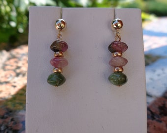 585 gold filled with tourmaline, gold earrings,