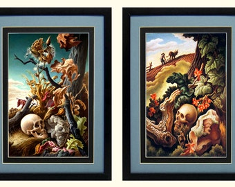 Thomas Hart Benton Fall & Spring Skulls  Custom Framed A+ Quality